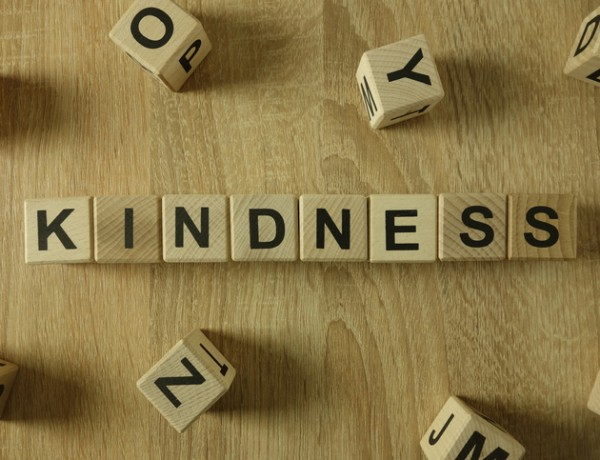 Kindness word from wooden blocks