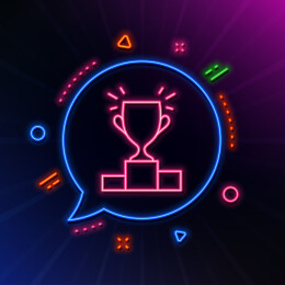 Winner podium line icon. Neon laser lights. Sports Trophy symbol. Championship achievement sign. Glow laser speech bubble. Neon lights chat bubble. Banner badge with winner podium icon. Vector